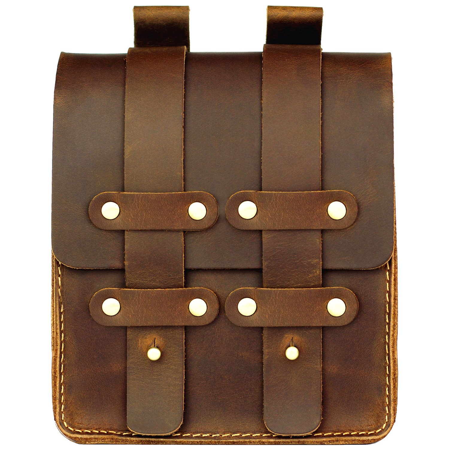 LXFF Mens Genuine Leather Belt Pouch Fanny Pack Waist Bag Bum Bags for Men Vintage Brown Large