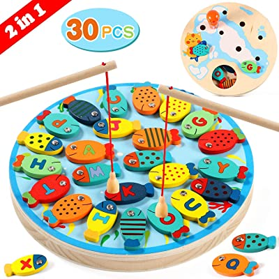 30 PCS Alphabet Fish Toddler Magnetic Wooden Fishing Toy Catching Counting Preschool Board Games Toys for 3 4 5 Year Old Girls Boys Kids Birthday Learning Educational Toys with Magnet Poles: Toys & Games