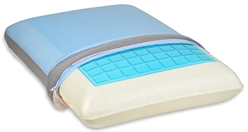 Firm Cooling Gel Memory Foam Pillow - Advanced Three Fabric Cover Promotes Comfort and Cooling