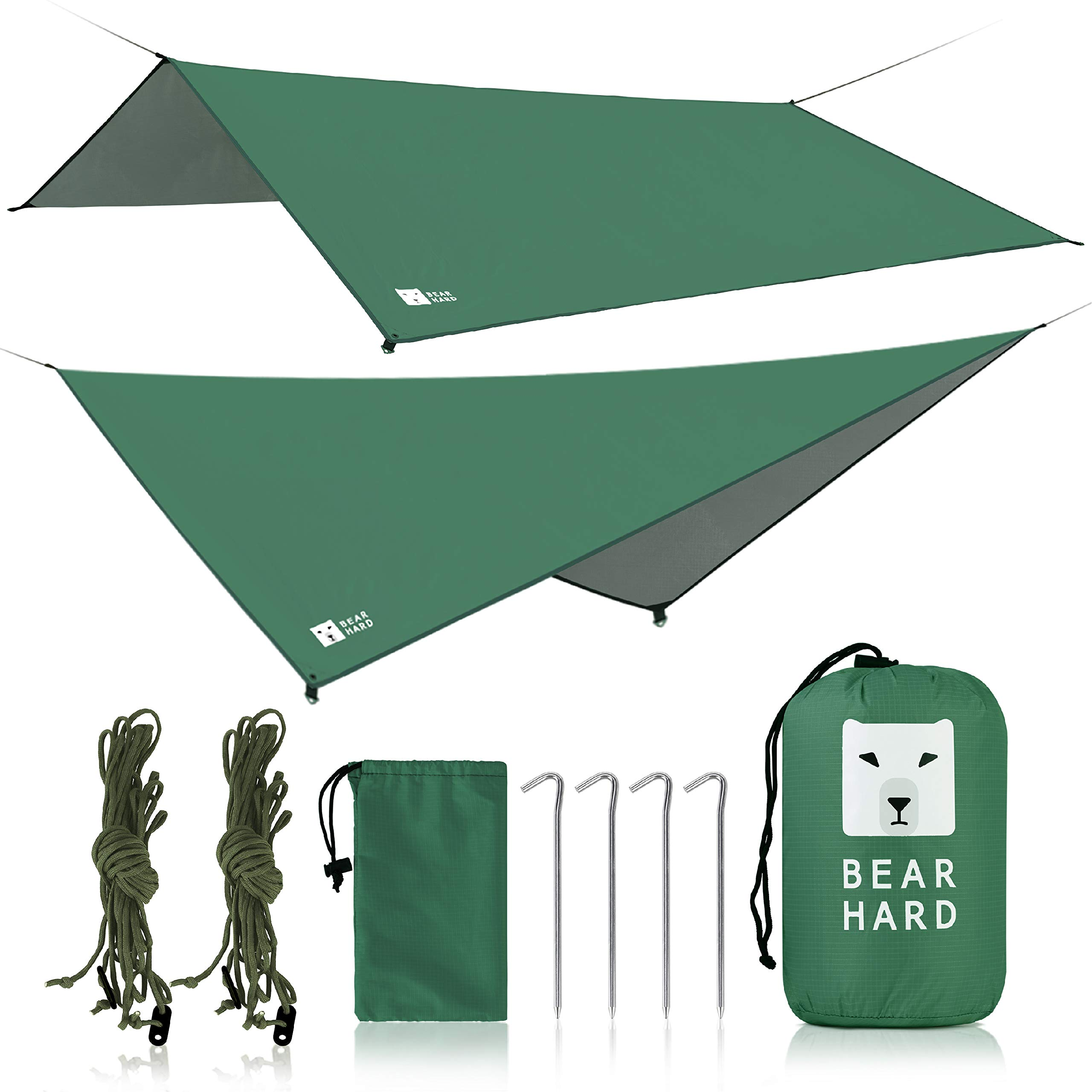 Bearhard Hammock Rain Fly Camping Tarp 10ft x 10ft/10ft x 12ft Set Up Easily and Include 6 Ropes and 4 Stakes Multicolor Lightweight Waterproof Tent Tarp Perfect for Camping, Hiking, Picnic by Bearhard