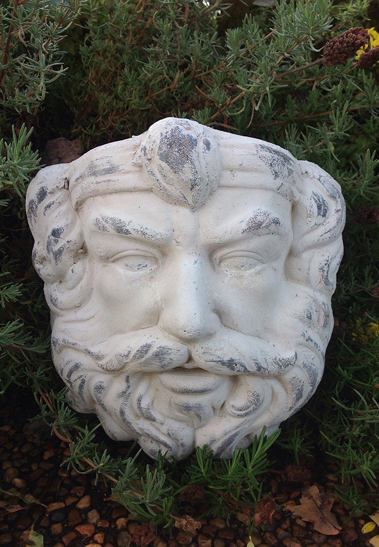 Old World Vintage Greek God Head Wall Hung Planter in Vintage White Finish