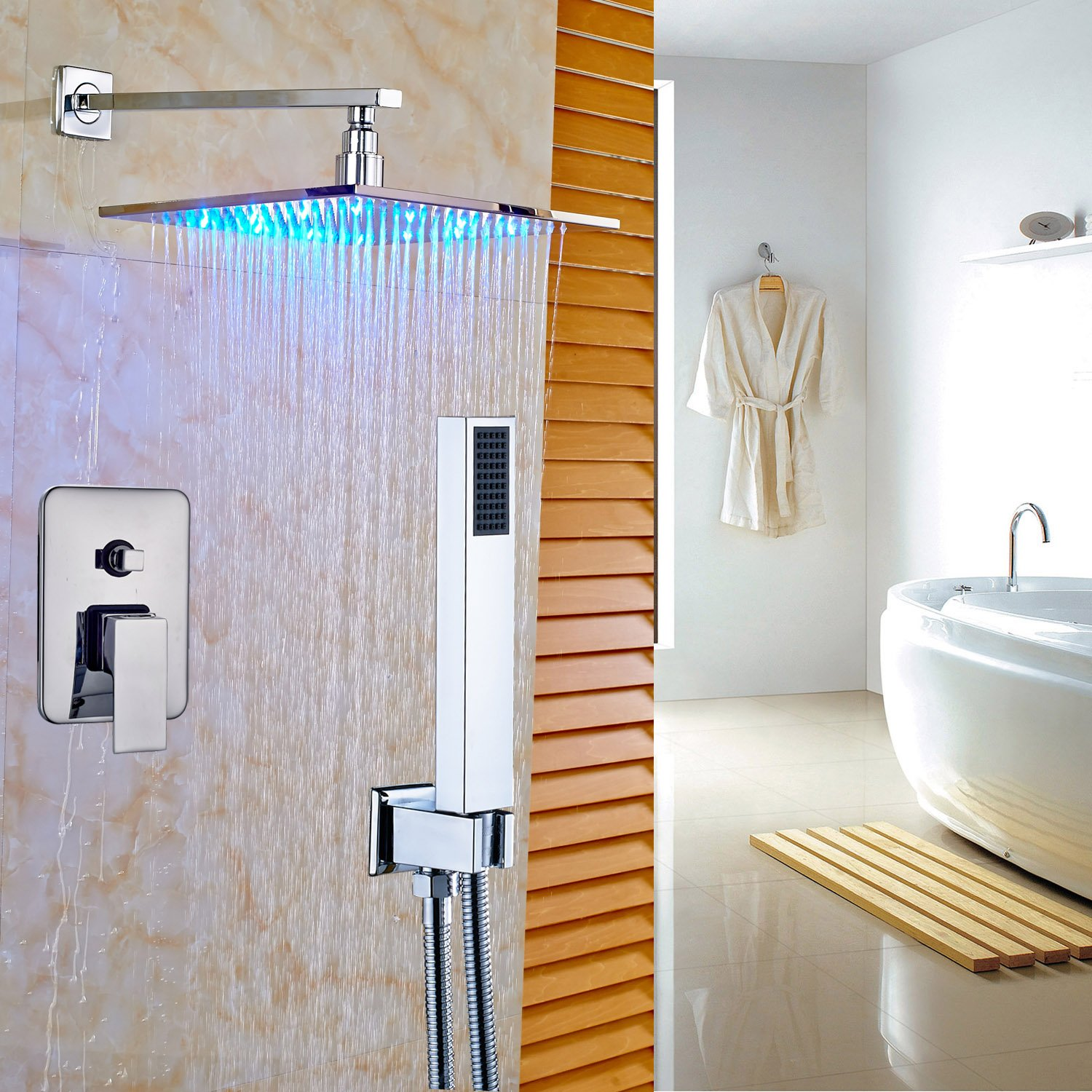Rozin Bath 2-way Mixer Shower Set LED Light 12'' Square Rainfall Shower with Handheld Spray Chrome Finish by Rozin