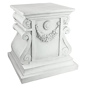 Design Toscano Classic Statuary Garden Plinth Base Riser, Large 15 Inch, Polyresin, Antique Stone