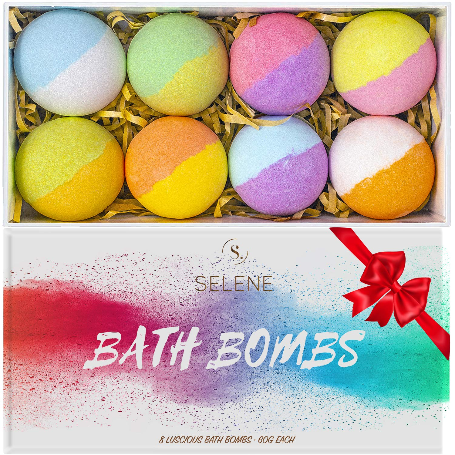 Selene Colorful Bath Bombs Gift Set (Holiday 8 Pack) - Spa Fizzies For Kids, Women - Lush Present Idea for Her, Mom, Girlfriend, Birthday - Handmade, Vegan, and Non Staining