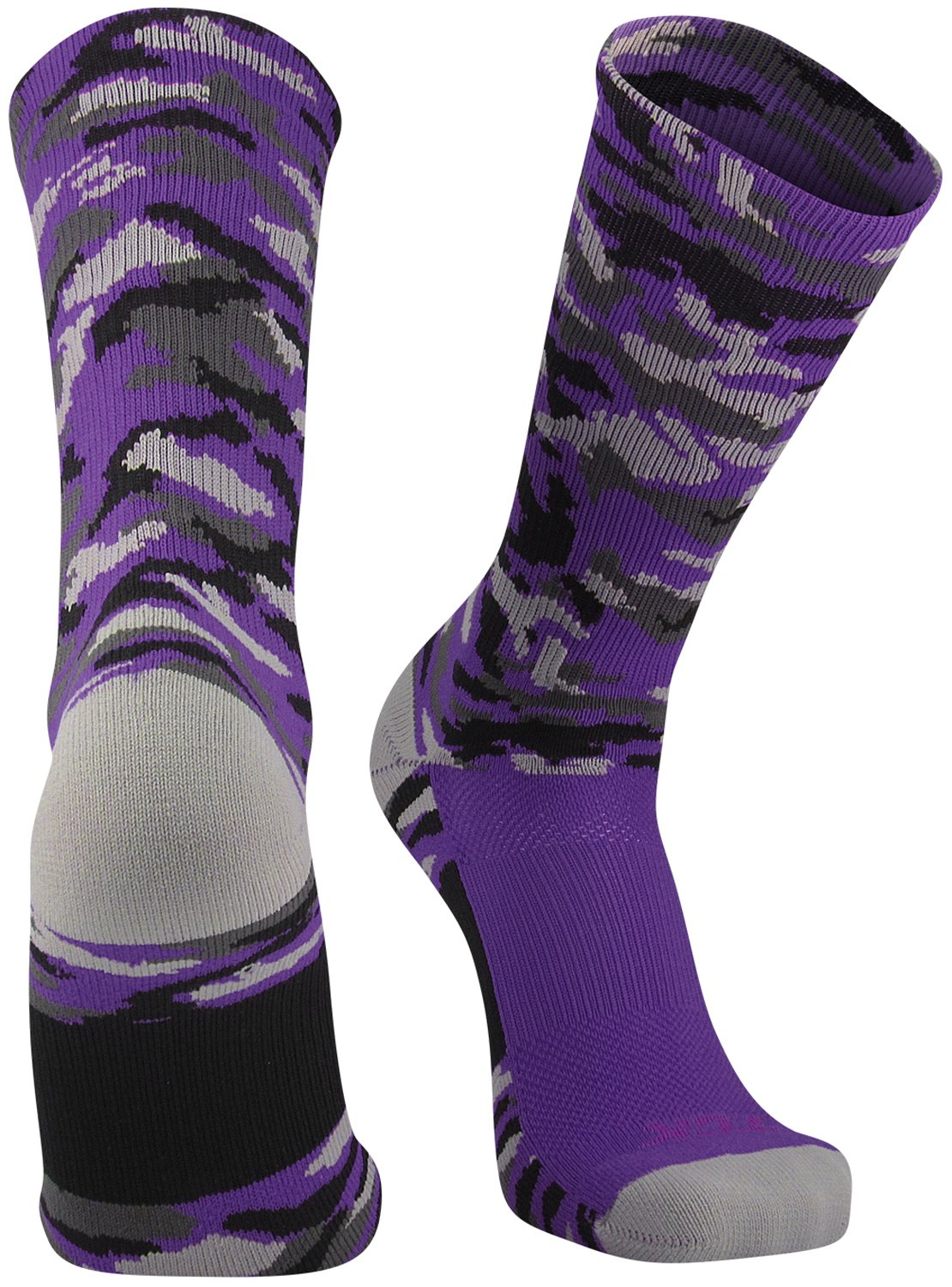 TCK Sports Elite Woodland Camo Crew Socks, Purple, Large