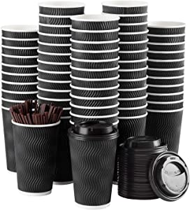 Disposable Coffee Cups with Lids and Straws - 16 oz (90 Set) Togo Hot Paper Coffee Cup with Lid To Go for Beverages Espresso Tea Insulated Reusable Cold Drinks Ripple Cups Protect Fingers From Heating