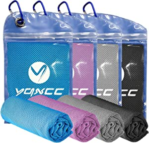 """YQXCC Cooling Towel 4 Packs (47""""x12"""") Microfiber Towel Yoga Towel for Men or Women Ice Cold Towels for Yoga Gym Travel Camping Golf Football & Outdoor Sports (Light Blue/Pink/Light Gray/Dark Gray)"""