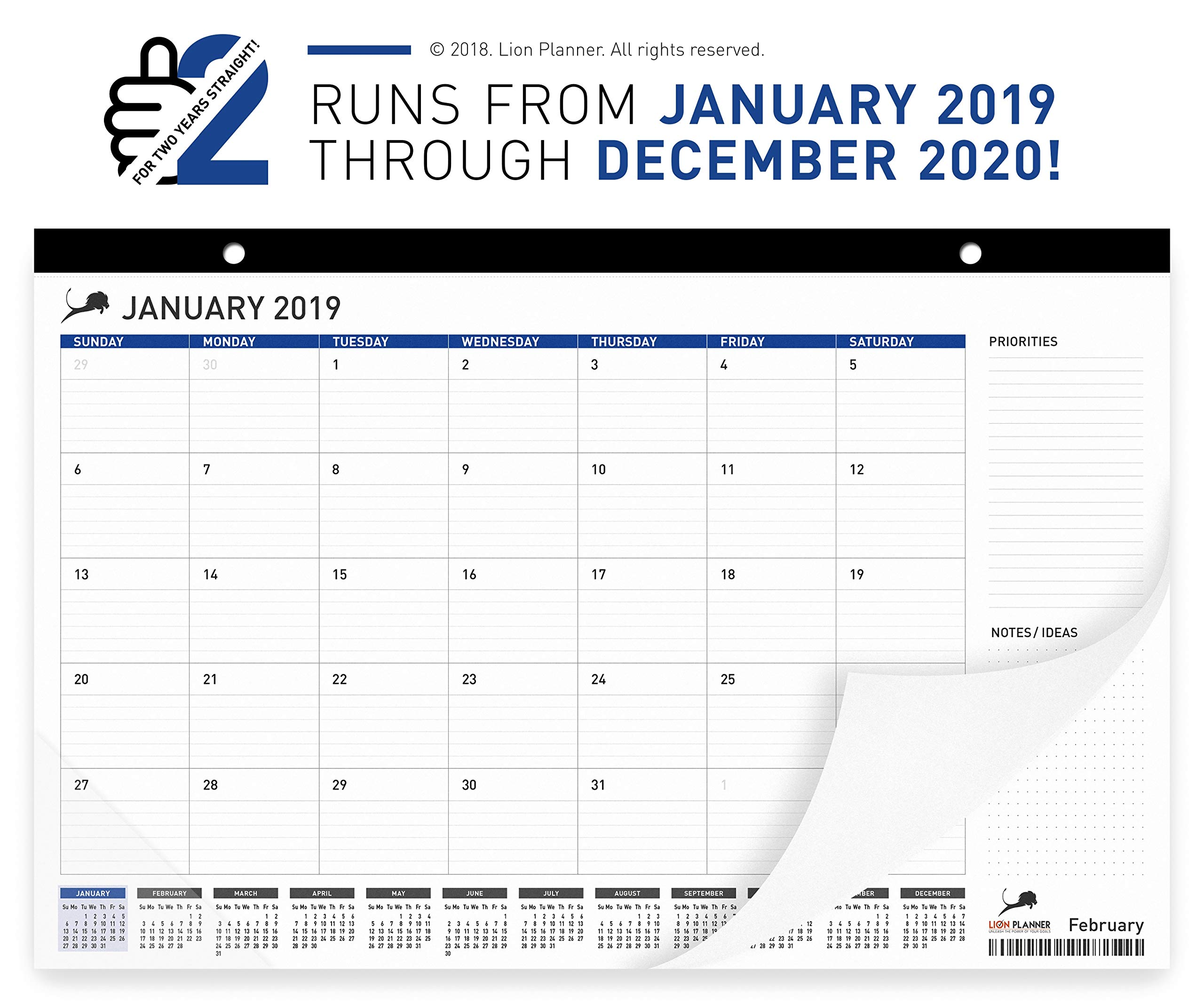 Desk Calendar 2019-2020 | Monthly Planning Desk Pad Calendar 17x11'' | Wall Calendar: January 2019 – December 2020 | Superior Ink Bleed Resistance Thick Paper