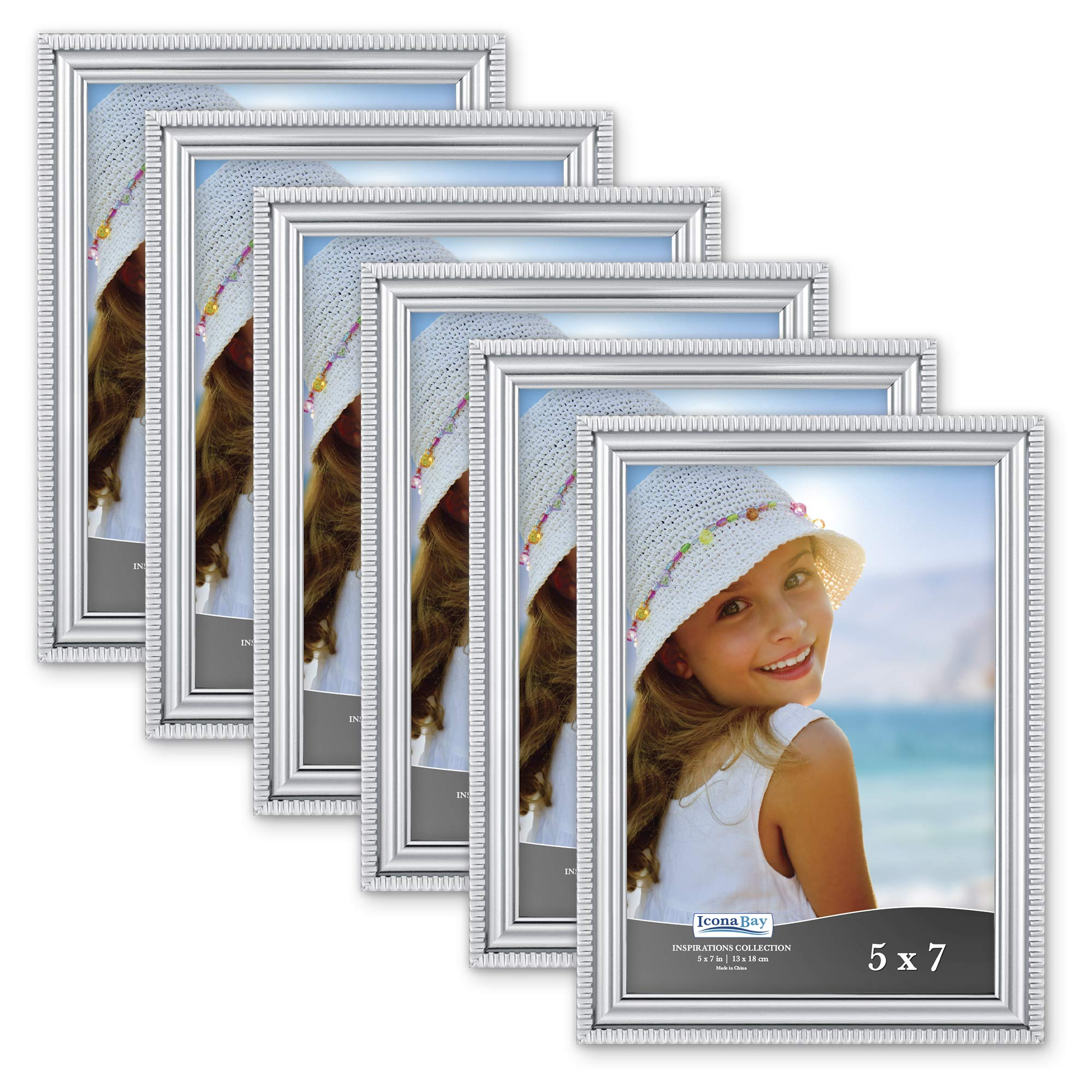 Icona Bay 5x7 Picture Frames (6 Pack, Silver) Picture Frame Set, Wall Mount or Table Top, Set of 6 Inspirations Collection by Icona Bay