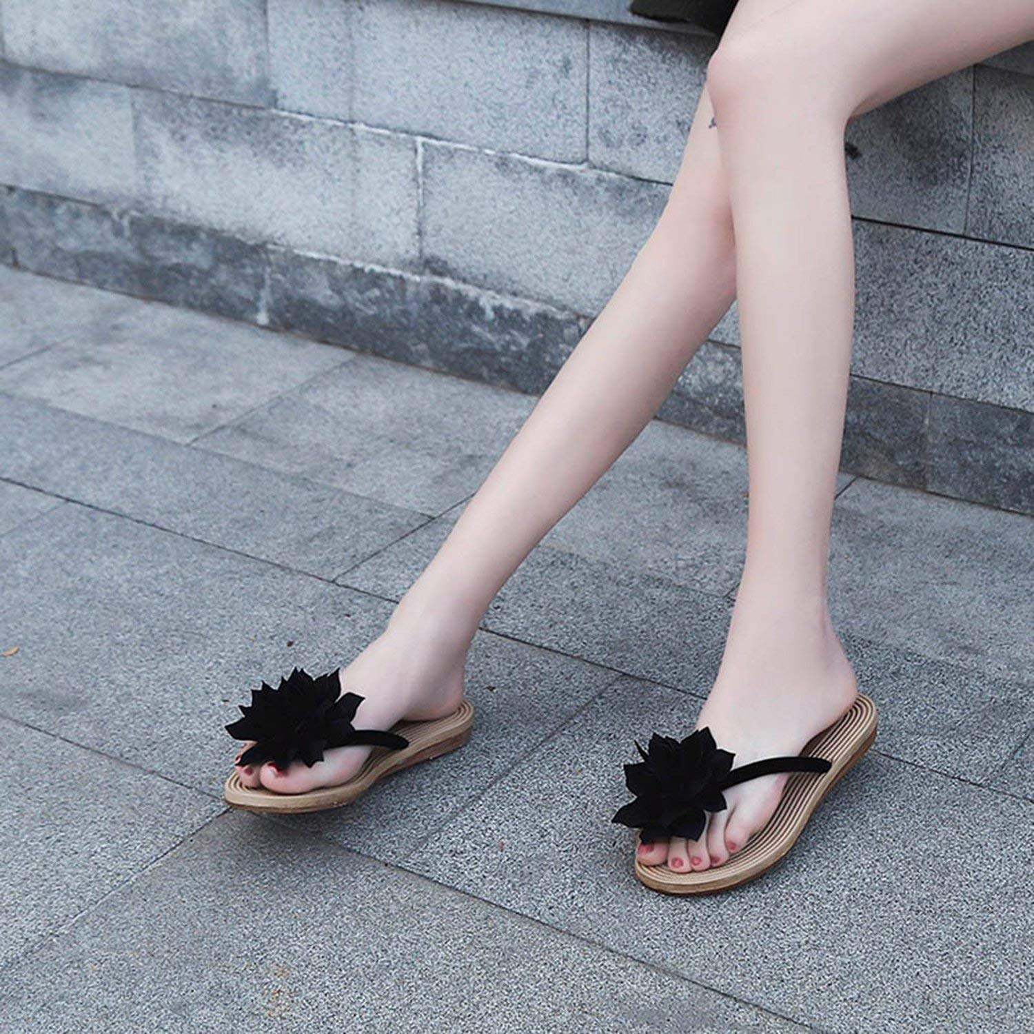 tthappy76 Color Women Fashion Summer Flower Flat Anti-Slip Slipper Beach Casual Shoes 35-41 Size,Red,35