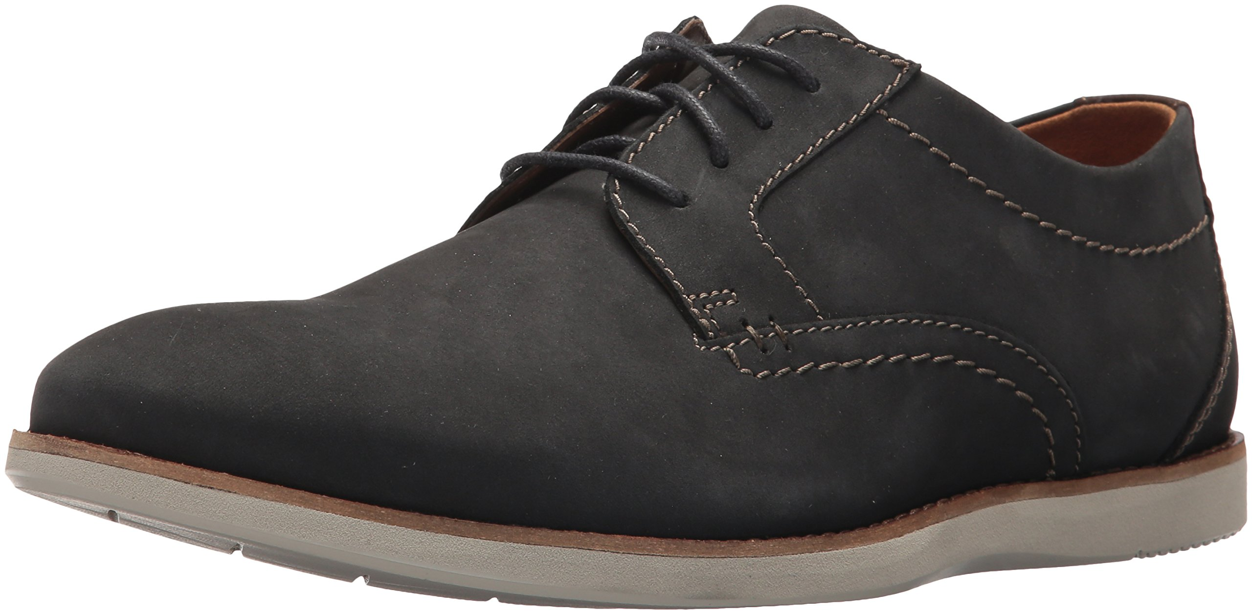 Clarks Men's Raharto Plain Shoe, blue nubuck, 8 Medium US by CLARKS