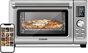 COSORI Air Fryer Toaster Oven Combo, 11-in-1 Countertop Dehydrator for Chicken, Pizza and Cookies, 30 Recipes & 4 Accessories Included, Work with Alexa, 25L, Silver (Renewed)