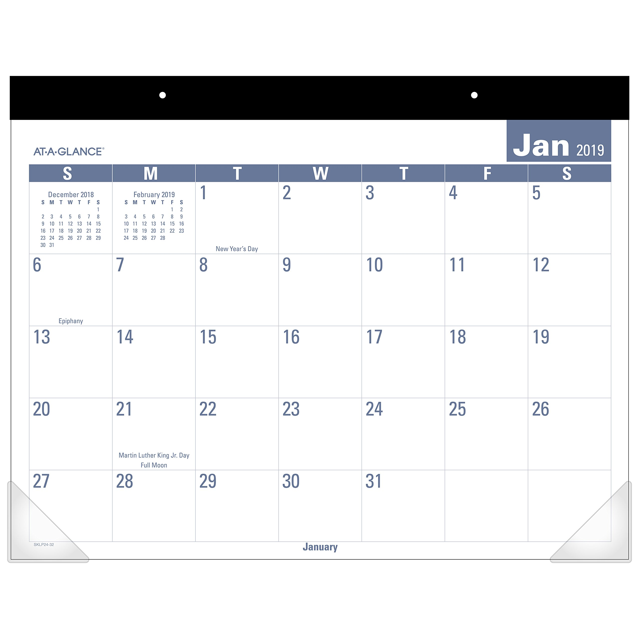 AT-A-GLANCE Monthly Desk Pad Calendar, January 2019 - December 2019, 21-3/4'' x 17'', Easy to Read (SKLP2432)