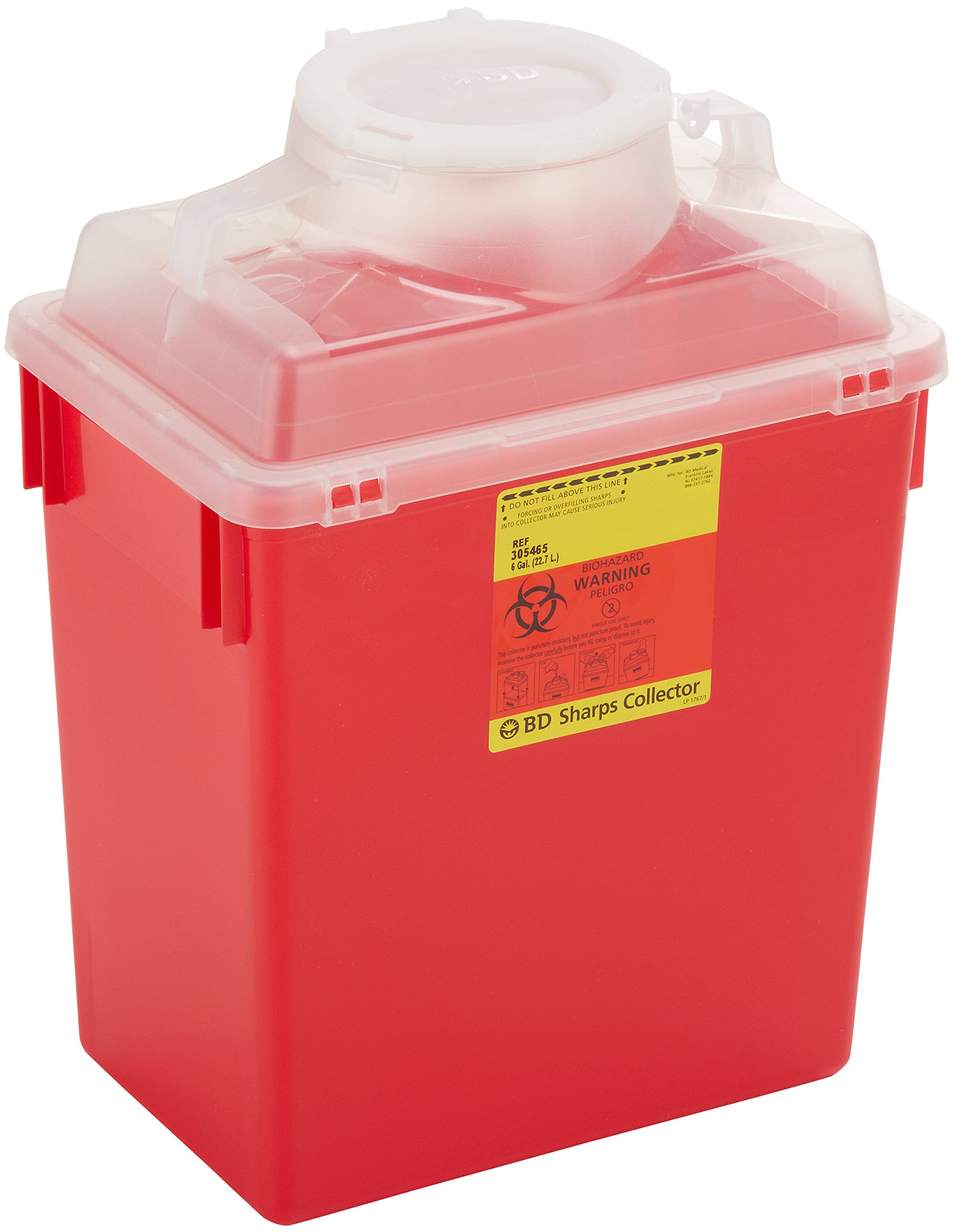 BD 305480 Multi-Use Nestable Sharps Collector with Large Funnel Clear Top, 12-1/2'' Width x 11-1/2'' Height x 8-1/2'' Depth, 14 Quart Capacity, Red Base/ Natural Top (Case of 20)