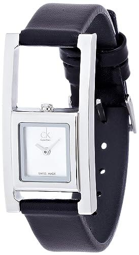 Calvin Klein Reloj Analógico para Mujer de Cuarzo con Correa en Cuero K4H431C6: Amazon.es: Relojes