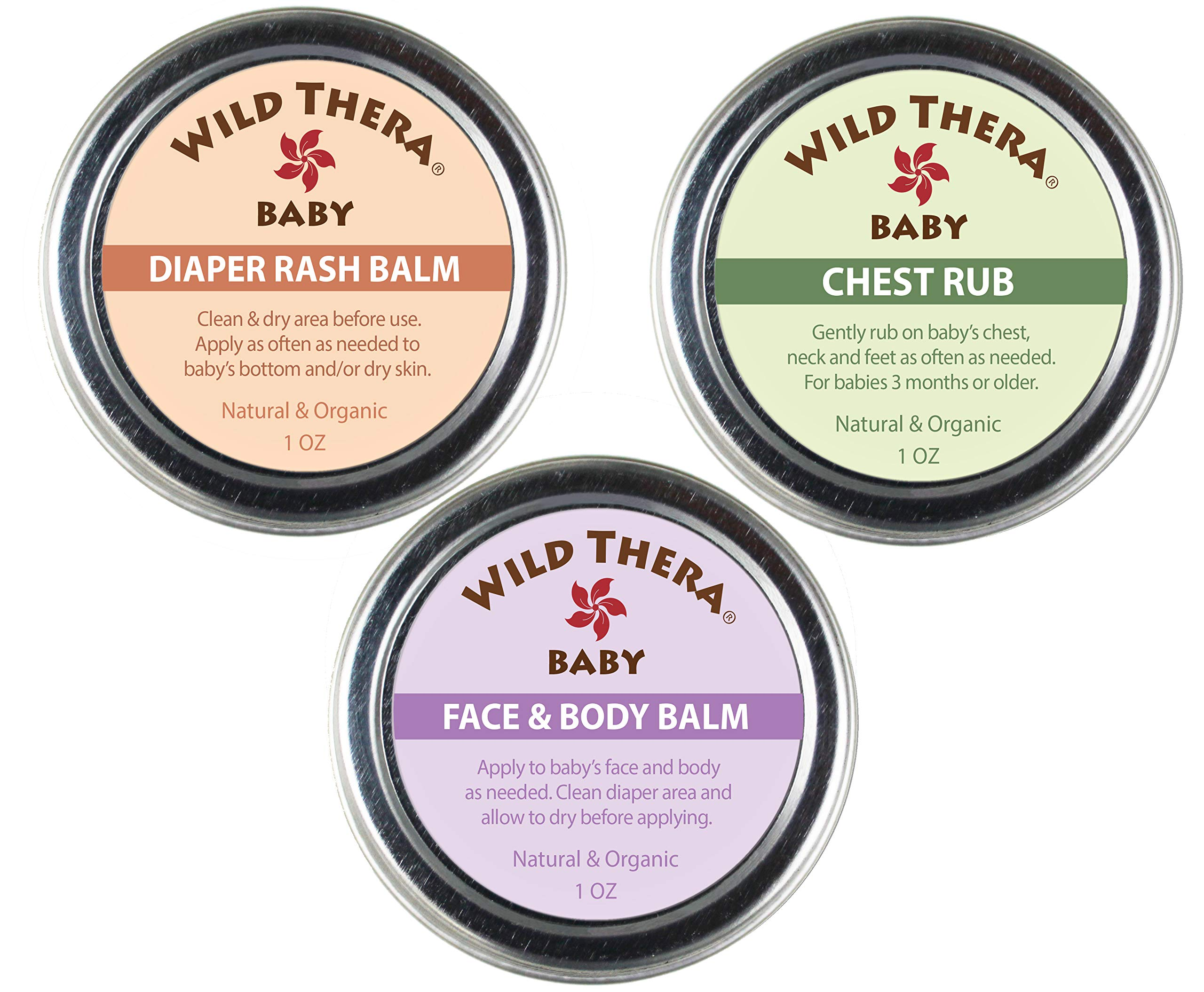 Wild Thera Baby Care Set. Organic, Natural Diaper Rash Cream, Chest Rub & Baby Face Ointment for rashes, irritated skin, sniffles, congestion, runny nose, dry skin, eczema, psoriasis 1 oz. by Wild Thera