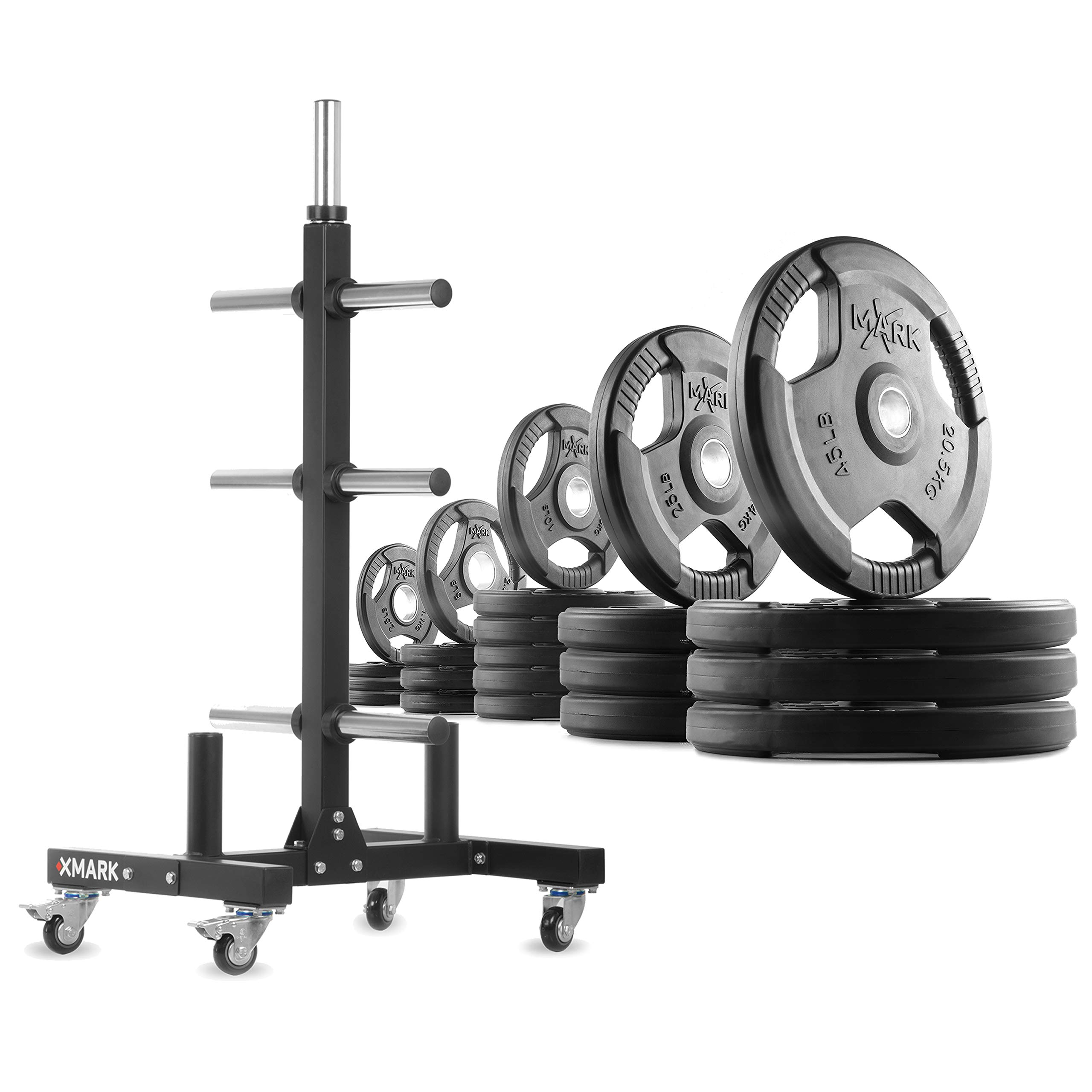 XMark XM-9055 Commerical Olympic Weight Tree Plus a 370 lb Set of TRI-Grip Olympic Plates by XMark