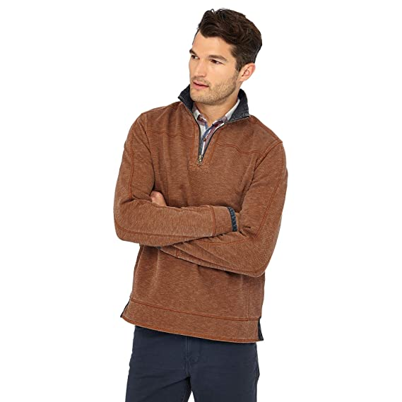 eb8234522a5 Mantaray Men Big and Tall Brown Zip Neck Sweatshirt  Mantaray   Amazon.co.uk  Clothing