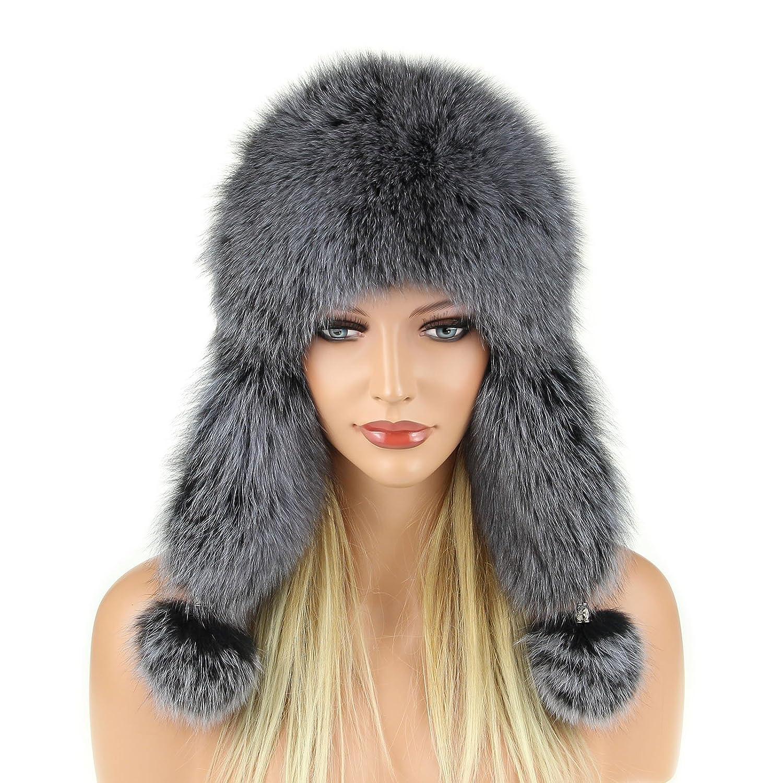 Pelzmütze Fellmütze FUCHS Leder Fliegermütze Wintermütze Skimütze Fox Uschanka Polarmütze Russische Damen Mütze Echt Fell