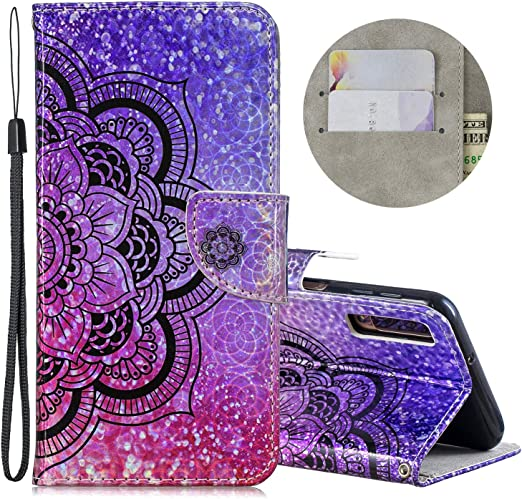 Rainbow Unicorn Wallet Case for Samsung Galaxy A7 2018 with Glitter Pattern,QFFUN Bling Iridescent Design Magnetic Stand PU Leather Case with Card Holder Folio Flip Cover and Screen Protector