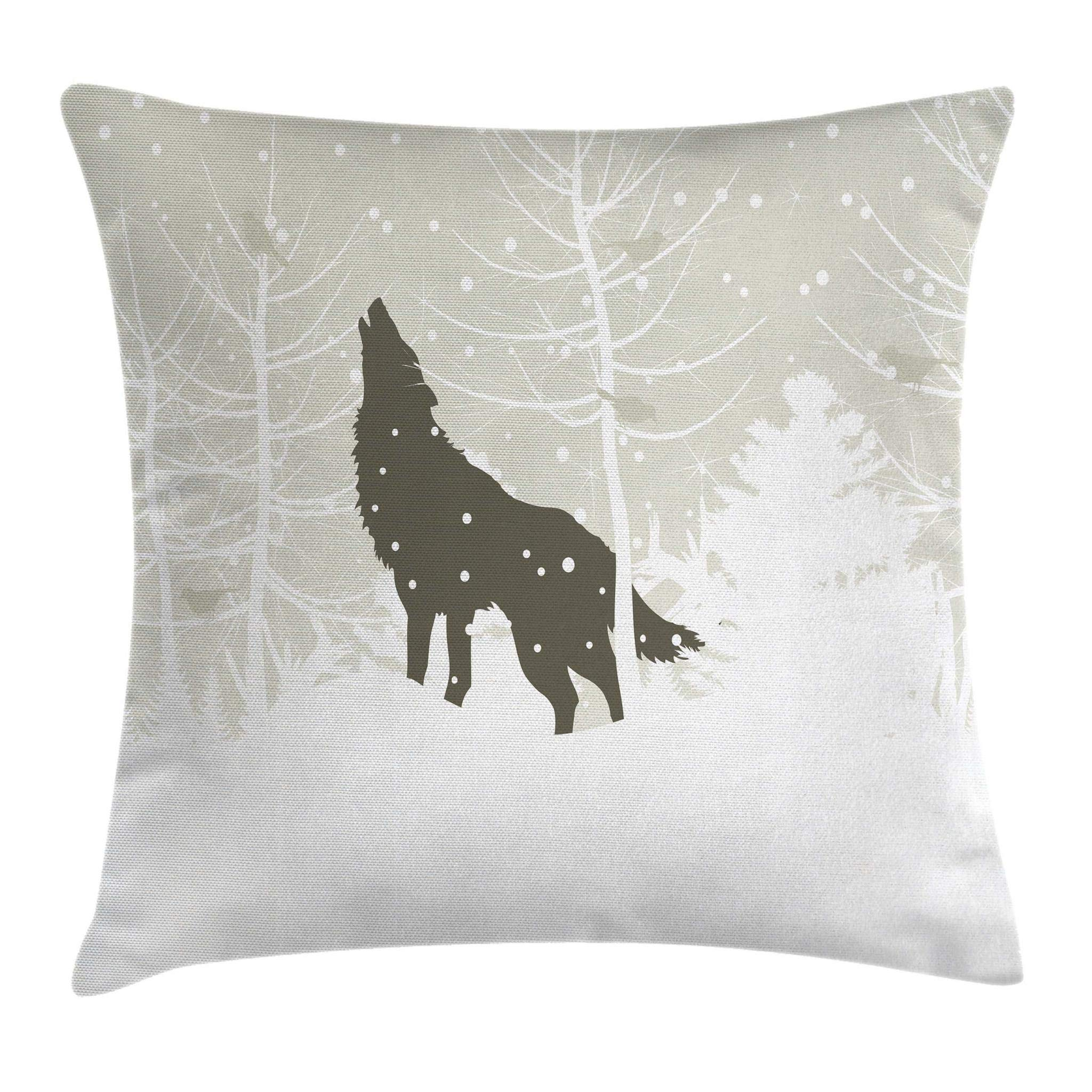 Ambesonne Winter Throw Pillow Cushion Cover, Wolf Silhouette Howls in Woods Leafless Trees Snowflakes Wilderness, Decorative Square Accent Pillow Case, 16 X 16 Inches, Eggshell Army Green White
