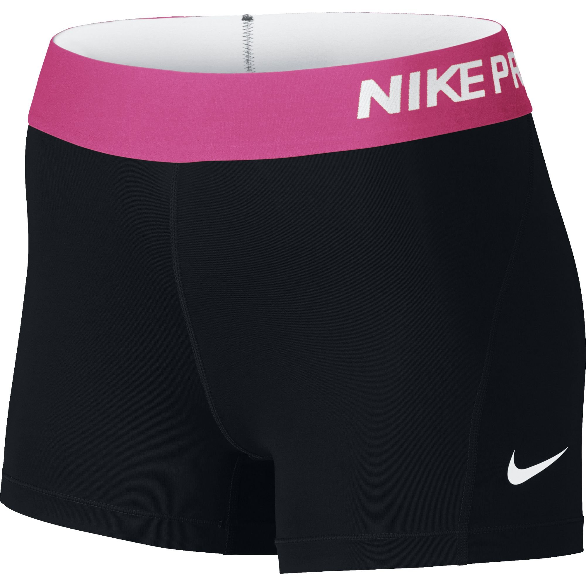 Nike Women's Pro Cool 3-Inch Training Shorts (Black/Vivid Pink/White/X-Small)