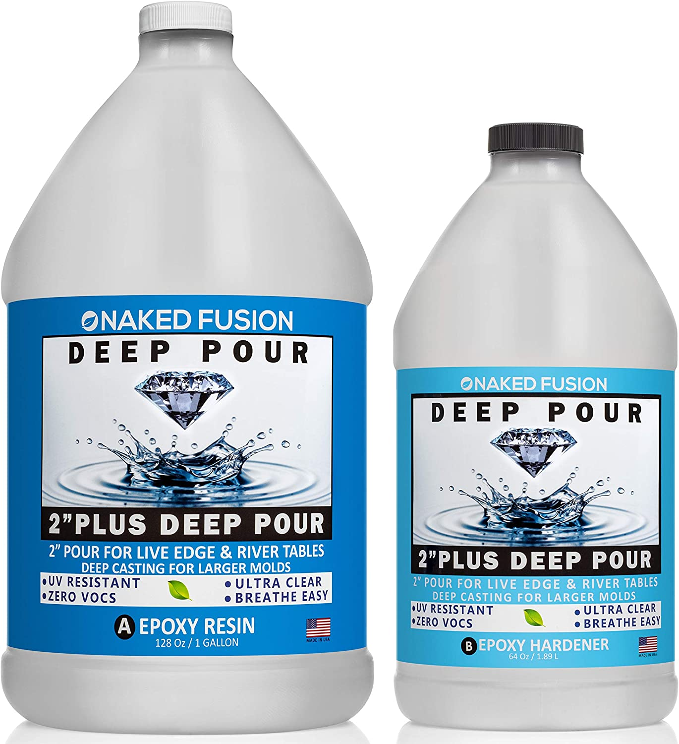 DEEP Pour Resin Ultra Super Gloss Coating Slow Cure 3 inch pours Squid-DEEP Deeper Clear Casting River Tables Non-Toxic Clear 3 L Casting Resin DIY EPOXY Resin