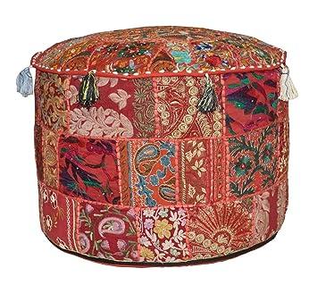 Incredible Amazon Com Bhagyodayfashions Red Bohemian Pouf Ottoman Andrewgaddart Wooden Chair Designs For Living Room Andrewgaddartcom