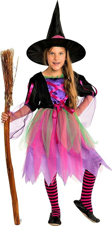 Magicoo - Disfraz de Bruja de neón para niños, niña, Halloween ...