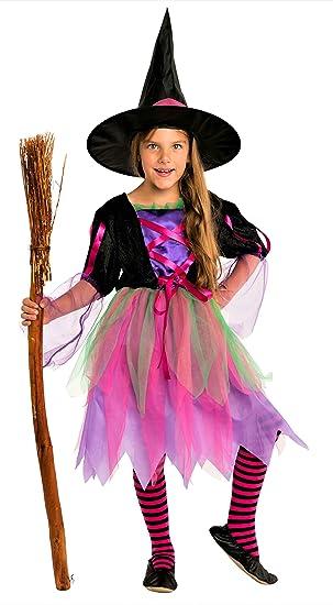 Magicoo Buntes Neon Hexenkostüm Für Kinder Mädchen Halloween Mit Hut Schickes Halloween Kostüm Hexe Kind 7 9 Jahre
