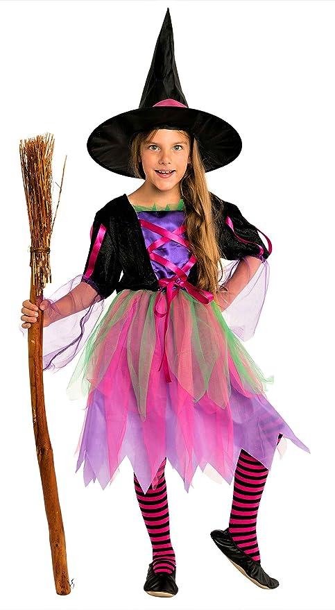 Magicoo Costume Strega Bambina Rosa Viola Nero Verde con Cappello da Strega- 3f2c80b59d44
