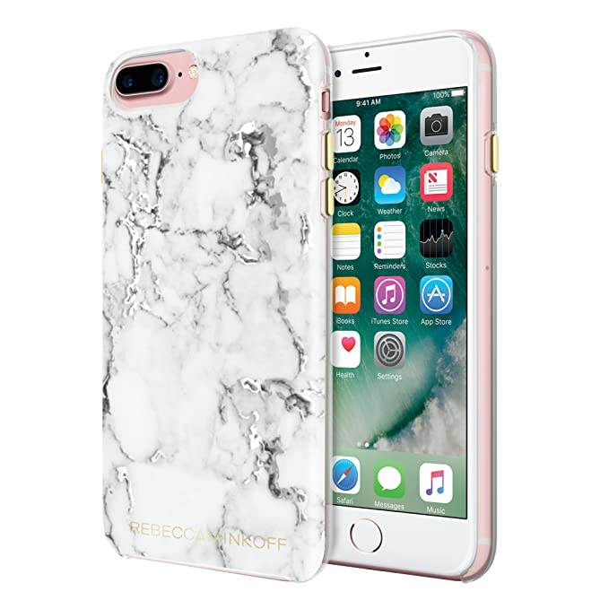 buy online 50b52 33fbd Rebecca Minkoff iPhone 7 Plus Case, Double Up Designer Phone Case  [Protective] fits iPhone 7 Plus - Marble Print Silver Foil
