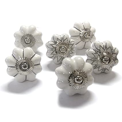 Set Of 6 Vintage Shabby Chic Mushroom White Silver Ceramic Cupboard Door  Knobs By Pushka Home