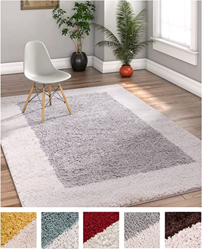 Porta Border Modern Geometric Shag 5×7 5 x 7 2 Area Rug GreyBeige Plush Easy Care Thick Soft Plush Living Room