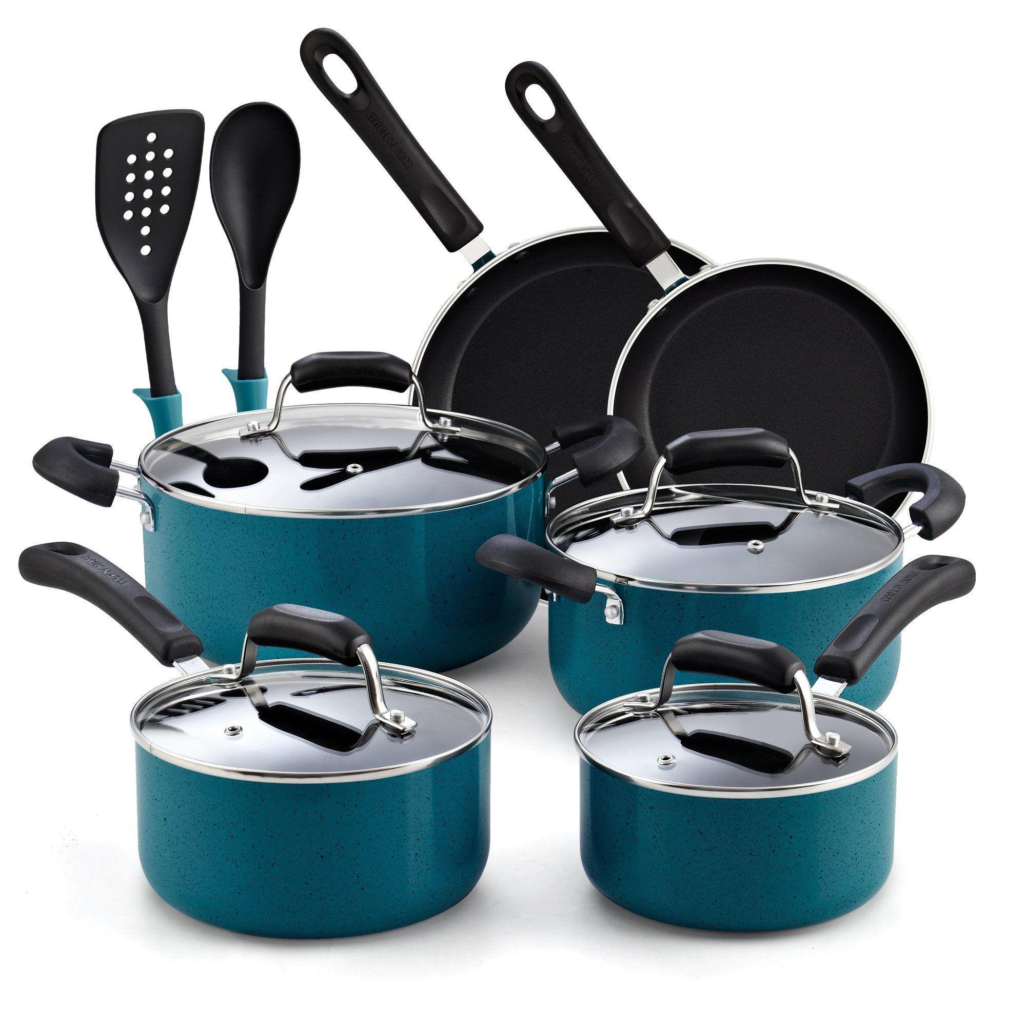 Cook N Home 02588 Nonstick Stay Cool Handle Cookware Set, 12-Piece, Turquoise