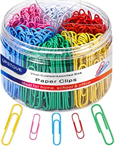 Paper Clips, Medium and Jumbo Paper Clips, Durable and Rustproof, Coated Large Paper Clips Great for Office School Document Organizing (Multicolored)