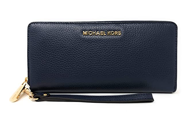 650abe38170d0d Michael Kors Jet Set Travel Continental Leather Wallet/Wristlet Navy Gold,  NS: Amazon.co.uk: Clothing