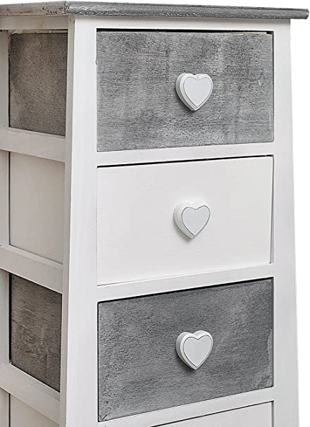 bianco grigio - Art camera bagno legno HxLxP Misure: 73 x 37 x27 cm stile shabby RE4369 Rebecca Mobili Comodino di legno cassettiera 4 cassetti