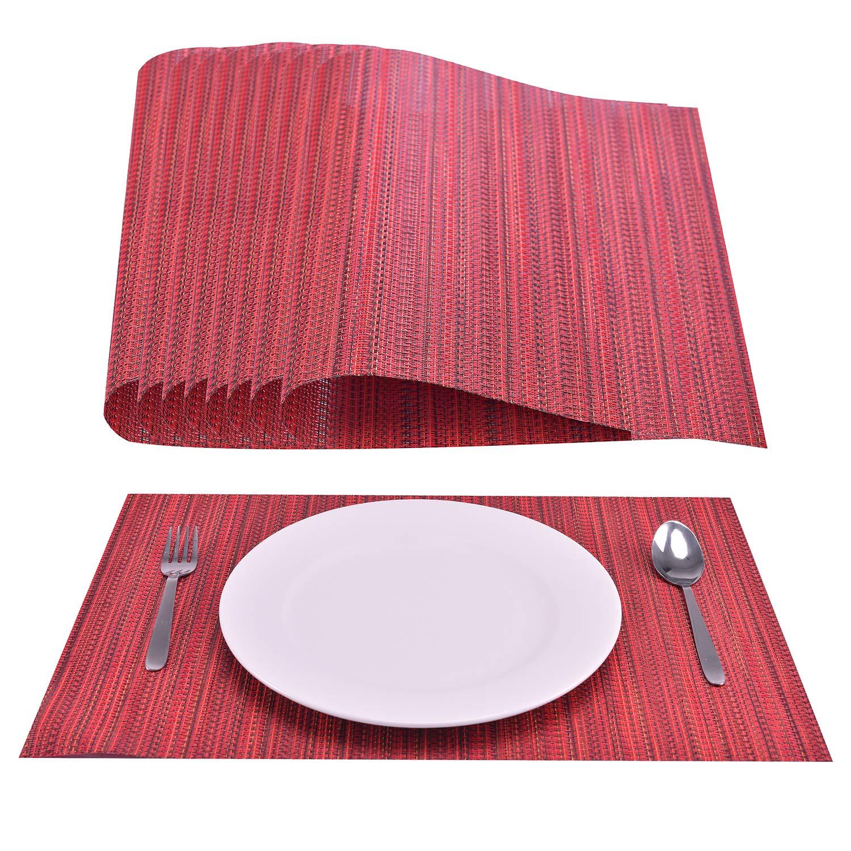 Decozen ランチョンマット ダイニングテーブル コーヒー テーブル ディナーテーブル用 8枚セット 耐熱性 お手入れ簡単 テーブルマット 再利用可能 ファスナー付きポーチ入り 12インチ x 18インチ レッド   B07P7FD1BL