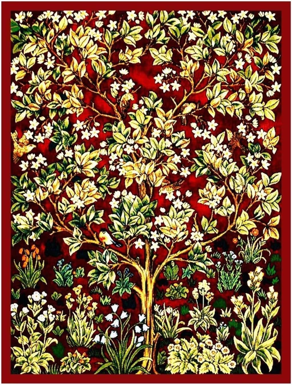 Orenco Originals William Morris Red Tree Life Counted Cross Stitch Pattern