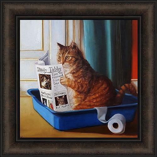 Home Cabin Dcor Kitty Throne By Lucia Heffernan 18x18 Cat Toilet Litter Box Bathroom Reading Newspaper