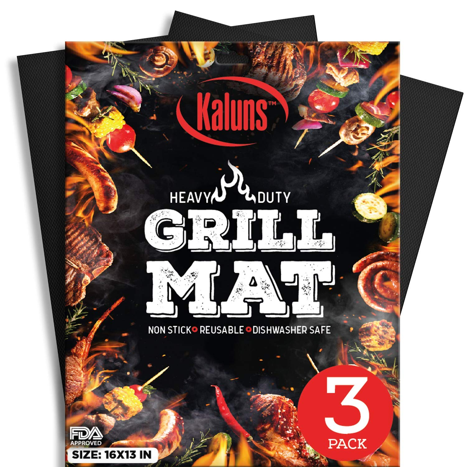 Kaluns Grill Mat, Best BBQ Mat - Heat Resistant up to 600 Degree - Nonstick, Reusable, Dishwasher Safe, Set of 3 by Kaluns