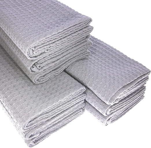 9 x – Trapo de algodón Suela de piqué en plata paños de cocina Paño agarradores: Amazon.es: Hogar