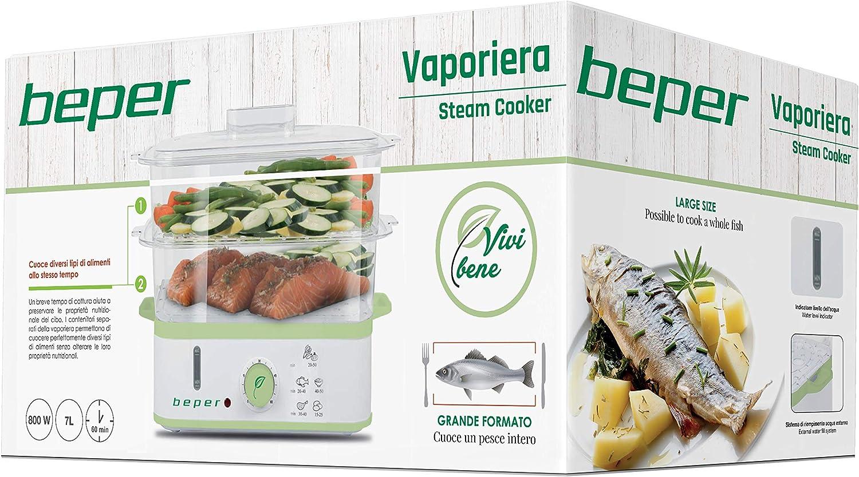 Beper 90.502 90.502-Cocina al vapor, Blanco Y Verde: Amazon.es: Hogar