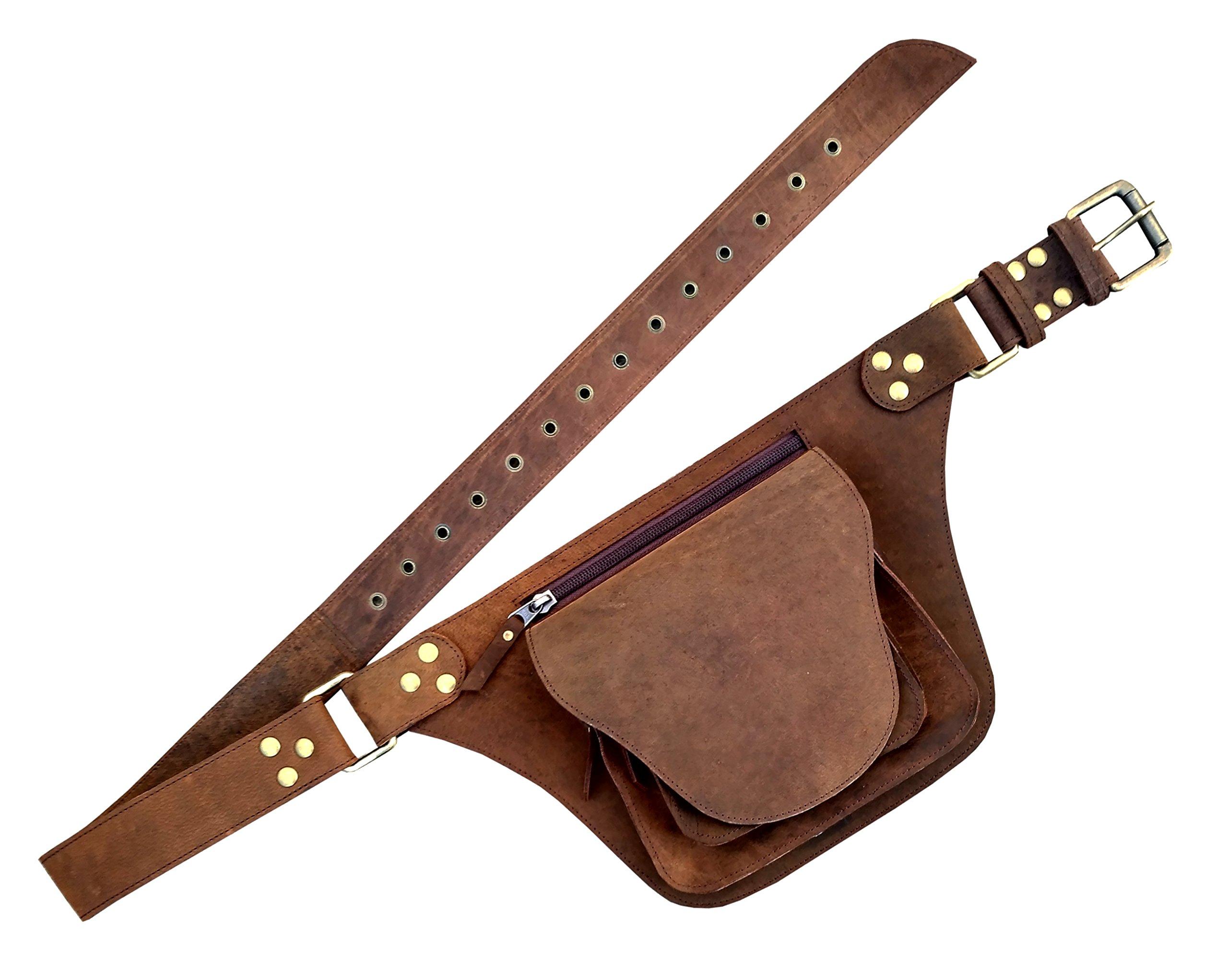 One Leaf Hunter Leather Utility Belt Rugged Brown Waist Pack