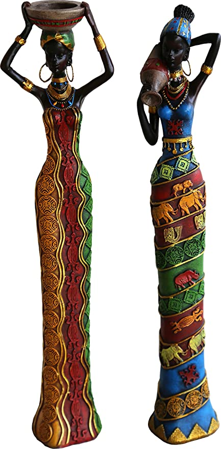 ChabaLine 18 Inches Tall 2 Piece Set African Women Figure Decor Art Statues  Sculptures