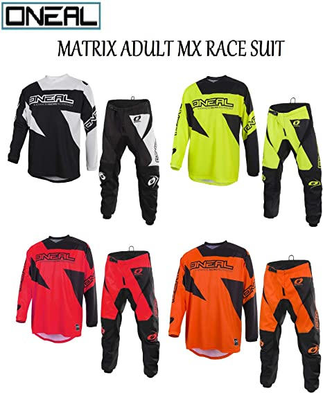 YELLOW : TOP M , PANT : 30 inches NEON YELLOW 2019 ONEAL MATRIX Adult MX Motorcycle ATV Quad Dirt Bike Enduro Motocross Gear Protective Clothing Off Road Race Suit