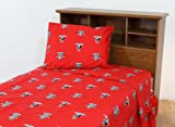 College Covers Texas Tech Red Raiders Printed Sheet Set - Twin - Solid