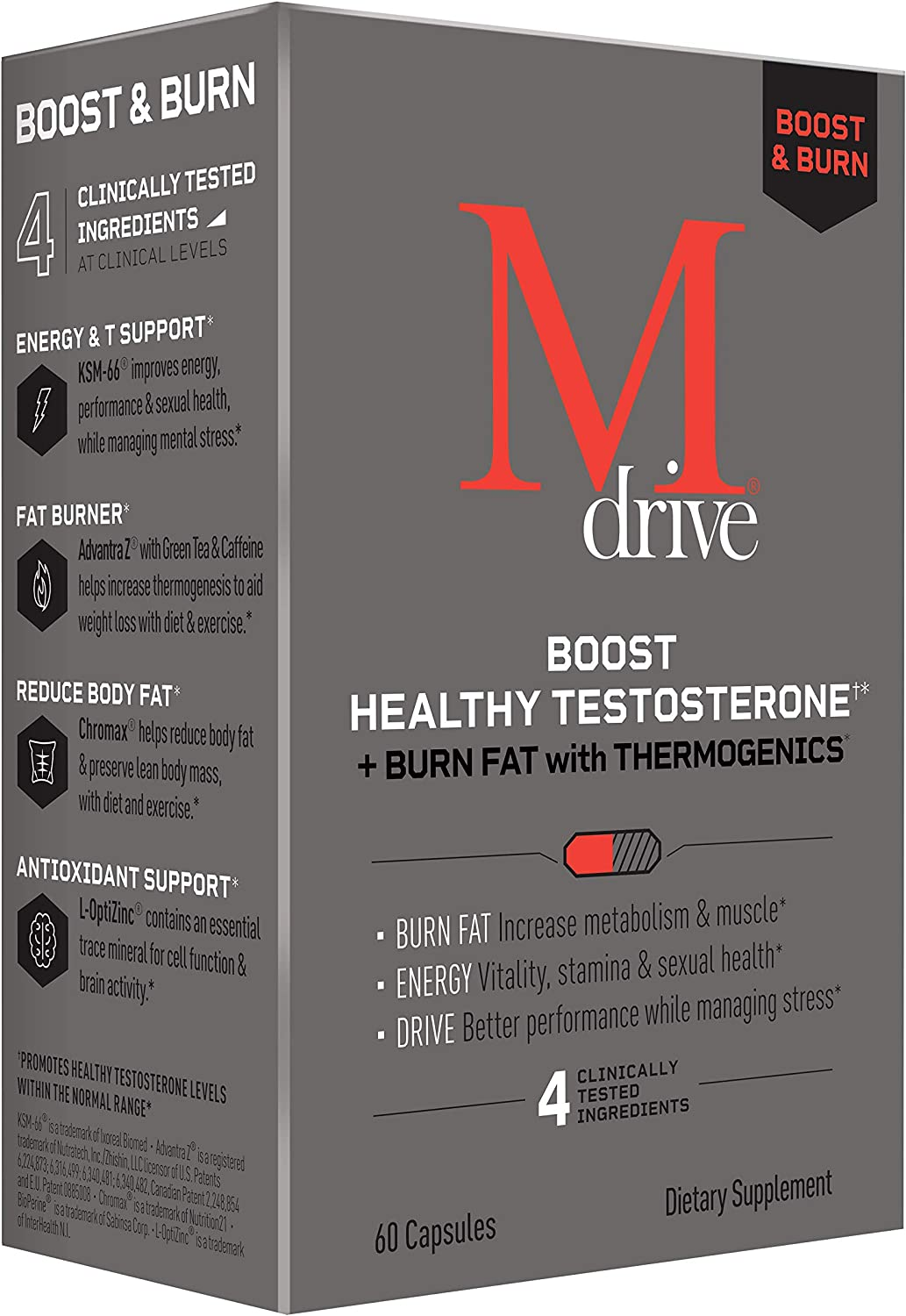 Mdrive Boost and Burn Testosterone Booster and Fat Burner for Men, Natural Energy, Strength, Stress Relief, Lean Muscle with Zinc, KSM-66 Ashwagandha, Cordyceps, Advantra Z, Chromax, 60 Capsules
