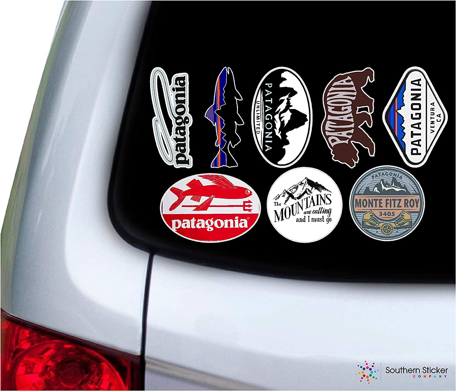 Set #1 Outdoor Stickers Monte Fritz Roy Patagonia Water Bottle Wilderness Nature Flask Bumper USA Sticker Love Baby Laptop car Window Truck Explore - Made and Shipped in USA